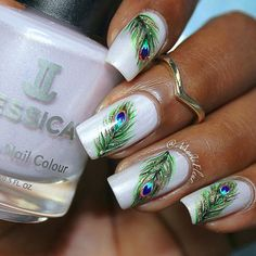 24 Gorgeous Peacock Nail Art Designs 2019 | Fashions eve Peacock Nail Designs, Peacock Nail Art, Feather Nail Art, Simple Nail Art Designs, Fancy Nails, Cute Nails, Pretty Nails, Instagram Nails, Nagel Gel