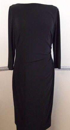 Lauren Ralph Lauren Dress Size 10 Black Polyester blend Below Knee-length #RalphLauren #StretchBodycon #LittleBlackDress