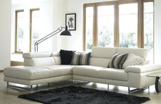 3 ways to style up your white leather sofa - Fishpools Lifestyle White Leather Furniture, Leather Sofa Decor, White Leather Sofas, Leather Living Room Furniture, Best Leather Sofa, Sofa Furniture, Pine Furniture, Black Leather, Off White Cabinets
