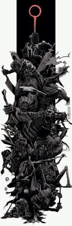 Dark Souls 3 bosses splash by uger Dark Souls 3, Arte Dark Souls, Dark Fantasy Art, Dark Art, Sketch Video, Splash Art, Soul Game, Arte Obscura, Berserk