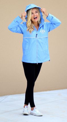 Monogrammed New England Rain Jacket in Periwinkle from Marleylilly.com!