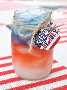 Vintage Americana 4th of July Party BBQ drinks. Mason jars add a great touch. #BBQ #drink #ideas