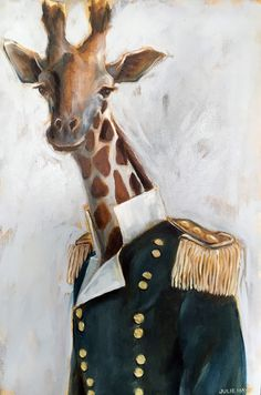 paintings of animals Anthro Cat, Animal Heads, Whimsical Art, Animal Paintings, Pet Portraits, Family Photos, Oil On Canvas, Giraffe, Moose Art