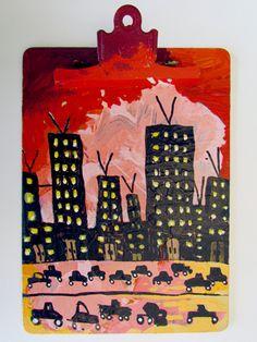 """City Life""  By Goodwill Art Studio & Gallery artists, Mary Baumgartner and Natasha Watters"