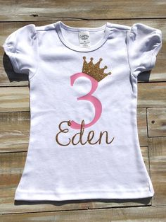 Custom Princess Birthday Vinyl Shirt by CutesyTDesigns on Etsy