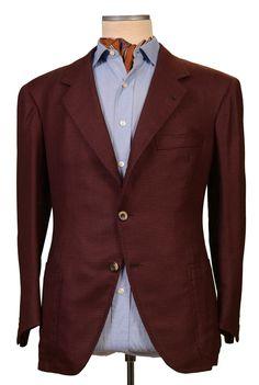 RUBINACCI LH Hand Made Bespoke Blue Herringbone Wool Linen Jacket