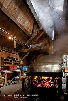 Our Sugar House Boiler in Action; Where Sap Becomes Syrup! Photo Courtesy of Jeffrey Newcomer Maple Syrup Taps, Pure Maple Syrup, Maple Syrup Evaporator, Sugar Bush, Future Farms, Sugaring, Visualisation, Maple Tree, Hobby Farms