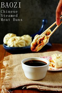 BAOZI { #Chinese Steamed Meat Buns} [Buns: active dry yeast, ap flour, baking powder. Chicken filling: ground chicken (or other meat), red bell pepper, ginger, onion, soy sauce, rice vinegar, cilantro +Ginger-chili-soy dipping sauce]