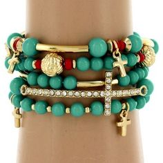 $6.25 5-Strand Turquoise and Coral Beaded Cross Stretch Bracelet: