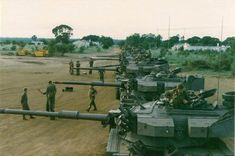 South African Olifant tanks being readied for the last coventional phase of the Angolan War. Operation Modular handover to Operation Hooper crews. Once Were Warriors, South African Air Force, Defence Force, Military Equipment, Military Weapons, Armored Vehicles, Warfare, Military Vehicles, Rubber Raincoats