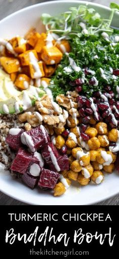 Turmeric Chickpea Buddha Bowl: Several superfoods prepared and topped with a lemon tahini dressing. Vegan buddha bowl with nutrient-dense superfoods in a lemon-tahini dressing Lunch Recipes, Whole Food Recipes, Vegetarian Recipes, Dinner Recipes, Cooking Recipes, Healthy Recipes, Salad Recipes, Beef Recipes, Yummy Recipes