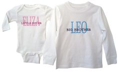 I absolutely adore these big/little shirts. Last year I had the boys wear them in Mother's Day pictures for their Grandmother's. I have also given them as a gift for new baby (and sibling). The shirts are of high quality and the lettering is durable. Prices are reasonable and the design can be adapted to any need!