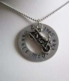 Two Wheels Move The Soul Hand Stamped Washer by KikisJewels, $18.00