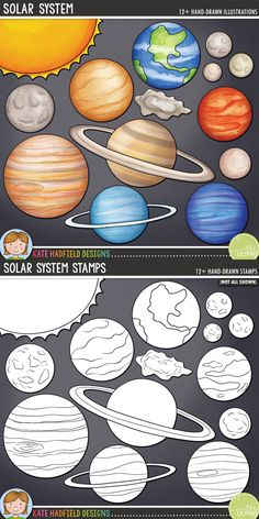 Solar system digital scrapbook elements / planet and space clip art! Hand-drawn doodles, clip art and line art for digital scrapbooking, crafting and teaching resources from Kate Hadfield Designs.Solar System / planet clip art for teachers! Solar System Projects For Kids, Solar System Crafts, Solar System Planets, Solar System Clipart, Make A Solar System, Solar System Activities, Space Activities, Preschool Activities, Arte Do Sistema Solar