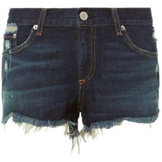 Rag & Bone Women's Doris Cutoff Denim Shorts ($175) ❤ liked on Polyvore featuring shorts, dark denim, destroyed jean shorts, destroyed shorts, cut off jean shorts, cut-off shorts and cutoff shorts