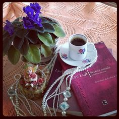 Book and violets