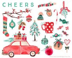 Items similar to Watercolor Christmas Clip Art for personal and commercial use - Vintage Car Tree Branch Decor Sock Candy Mitten Hat Scarf Lollipop on Etsy Illustration Noel, Christmas Illustration, Watercolour Illustration, Watercolor Art, Christmas Time, Christmas Crafts, Christmas Ornaments, Xmas, Beach Christmas