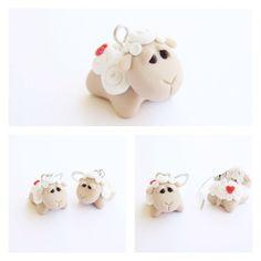 Polymer clay - sad lamb earrings
