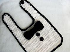CROCHET PATTERN Tuxedo Bib Size 0-12 months by YarnBlossomBoutique