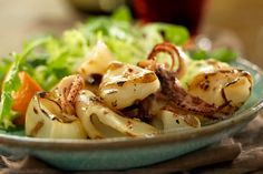 Tender Grilled Baby Octopus Salad w/ Tomatoes & Fresh Greens