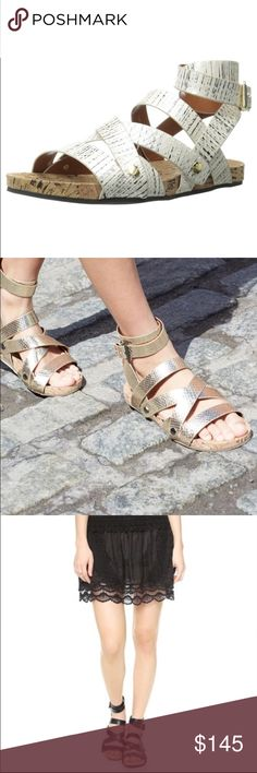 BNWT Rebecca Minkoff Tristen gladiator sandal BNWT Rebecca Minkoff - Amazing sandal, Leather straps with cork footbed, amazingly comfortable...actual shoes are 1st and last pic (cream pearlized snake). Gold hardware. Rebecca Minkoff Shoes Sandals