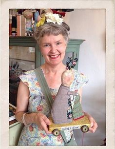 Julie Arkell with one of her creatures 'Making a Shape' for Loop: