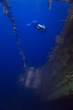 """(c) Michael Anderson...Deep Vertigo, Marovo Lagoon, Solomon Islands: """"This is the wreck of the Taiyo, a 300 foot long fishing boat that crashed and sank on it's maiden voyage. The ship went down backwards VERTICALLY against a massive reef. The bow is only 5 feet under the surface.... As you look straight down to the stern nearly 300 feet into the abyss, you feel as though you are floating in outer space, hovering over the ship, trying your hardest to keep the powerful sense of vertigo at…"""