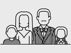 Line illustration of The Addams Family.club Hint:Use navigation buttons … Family Drawing, Family Painting, Family Illustration, Line Illustration, Addams Family Tattoo, Body Art Tattoos, Rib Tattoos, Foot Tattoos, Flower Tattoos