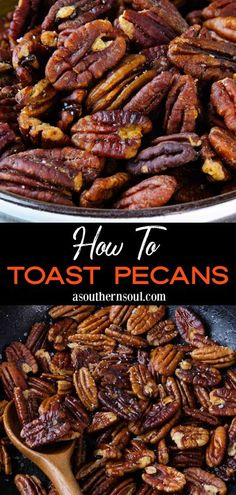 Learn how to toast pecans on the stovetop or in the oven. These two, easy and foolproof methods bring out all the wonderful nutty flavor of pecans for salads, side dishes, and desserts. And don't forget, toasted pecans make a great snack alongside your favorite beverage as well! Toasted Pecans, Recipe Steps, Recipe Link, Christmas Crack, Christmas Baking, Cooking Tips, Cooking Recipes, Appetizers, Good Food