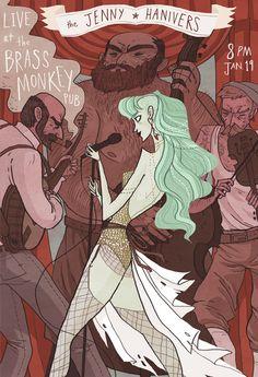 The Jenny Hanivers gig poster by Noelle Stevenson