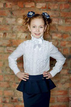 fbe15d4e215 Купить Школьная форма - белая блузка с рюшами нарядная (Арт.23) - блузка  для девочки.