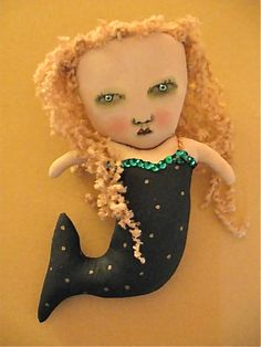 ooak mermaid art doll  original polka dot folk by sandymastroni