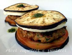 Torrette di melanzane ricetta facile. Towers of eggplant easy recipe