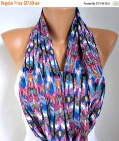 Spring Infinity Scarf Mother's Day Gift Chiffon Circle by fatwoman