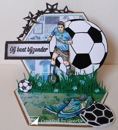 Boy Cards, Pop Up Cards, Kids Cards, Theme Sport, Soccer Theme, Birthday Cards For Boys, Man Birthday, Soccer Crafts, Shaped Cards