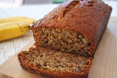 Moist and delicious classic banana bread recipe.  Easy to make, no need for a mixer. Ripe bananas, butter, sugar, egg, vanilla, baking soda, and flour.