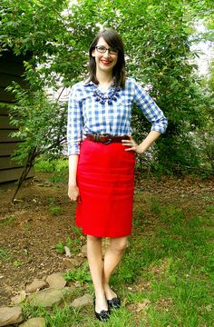 red skirt + blue gingham