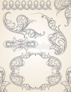Designed by a hand engraver. An ornate and highly detailed set of engraving scrolls. Includes page corners, frame, elements, and repeatable border. Change color and scale easily with the enclosed EPS. Door Murals, Mural Art, Baroque Tattoo, Baroque Pattern, Principles Of Design, Ornaments Design, Elements Of Art, Free Vector Art, Indian Art
