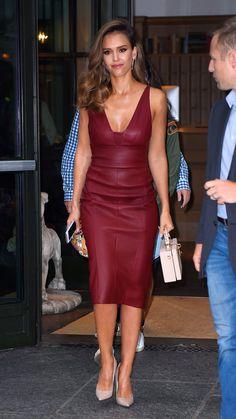 Jessica Alba in Narciso Rodriguez, Dolce & Gabbana purse, Jimmy Choo pump