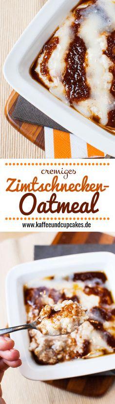 Cremiges Zimtschnecken-Oatmeal: Haferbrei mit Zimt-Zucker-Sauce und Frischkäse-Glasur
