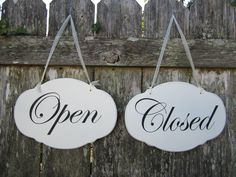 Hand Painted Wooden White Shabby Chic Open / Closed Sign. $28.00, via Etsy.