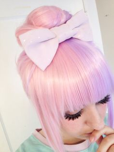 """fairy kei hair: mahouprince: """"I figured out how to get this wig in a top bun and I'm so excited!! I'm going to wear it like this more often ;w; """""""