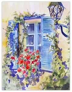 geraniums and blue shutters