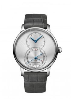 Grande Seconde Quantième Satin-brushed Gray | Satin-brushed gray sunray dial. Stainless steel case. Pointer-type date display at 6 o'clock. Self-winding mechanical movement. Power reserve of 68 hours. Diameter 39 mm.