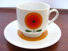 Mitterteich Cup and Saucer Space Age Pop Art Bavaria Germany Mod