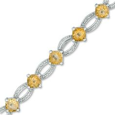 Zales Diamond Accent Abstract Heart Link Bracelet in Sterling Silver and 10K Gold Plate - 7.25 sIOLJkgY6t