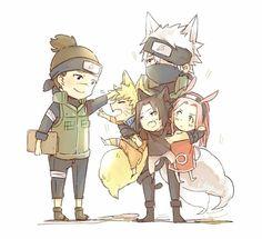 Iruka-sensei y Equipo 7 Neko°-Anime-Naruto
