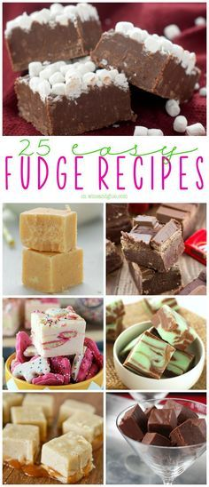 25 Easy Fudge Recipes Is there anything better than an easy fudge recipe? No candy thermometer needed to make these 25 easy fudge recipes. Fudge is the perfect holiday food gift! Fudge Recipes, Candy Recipes, Sweet Recipes, Baking Recipes, Holiday Recipes, Christmas Recipes, Fast Dessert Recipes, Nutella Recipes, Christmas Traditions