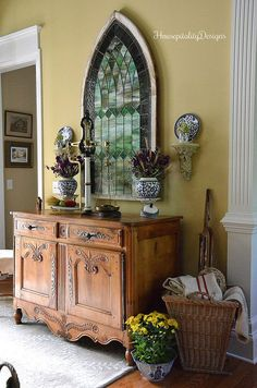 Fall Foyer - Antique French Buffet - Antique Stained Glass - Fall Decor - Housepitality Designs