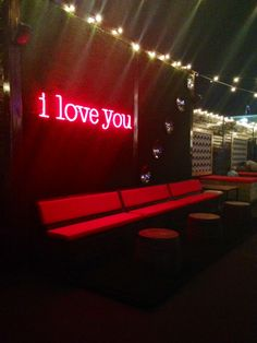 i love you :: neon lights :: proof :: houston :: rooftop Houston Lights, Bmw Interior, Interior Ideas, Wood Tile Shower, Tv Stand With Drawers, Wood County, Wood Columns, Rooftop Lounge, Top Interior Designers